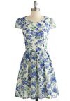 Sky Vine Dress - Blue, Multi, Floral, Pleats, Daytime Party, A-line, Cap Sleeves, Better, Scoop, Tan / Cream, Cutout, Sheer, Knit, Short, Spring, Summer