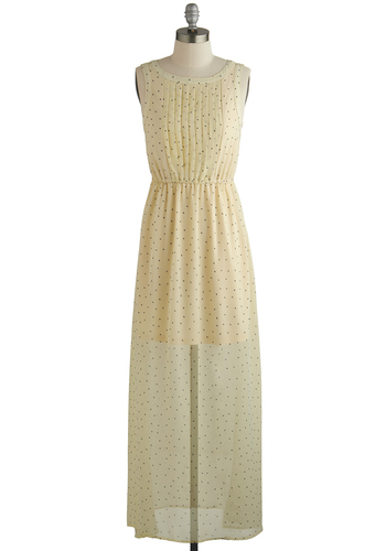 Hope to It Dress - Cream, Black, Polka Dots, Maxi, Better, Scoop, Pleats, Sleeveless, Chiffon, Sheer, Woven, Long, Daytime Party