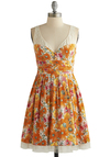 Safflower Fan Dress - Orange, Multi, Floral, Buttons, Lace, Daytime Party, A-line, Tank top (2 thick straps), Better, V Neck, Sheer, Knit, Woven, Mid-length, Sundress, Festival