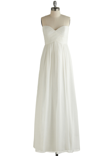 Alight of Heart Dress - White, Solid, Special Occasion, Wedding, Bride, Maxi, Strapless, Best, Sweetheart, Pleats, Chiffon, Woven, Long, Prom