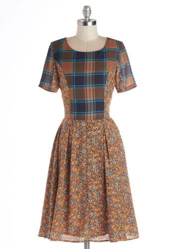 Professorial Debut Dress by Kling - Long, Woven, Brown, Multi, Plaid, Floral, Casual, A-line, Short Sleeves, Better, Scoop