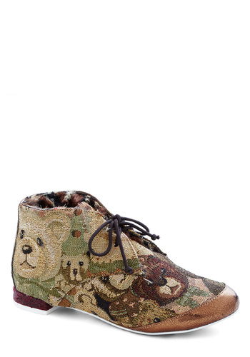 Teddy Flair Bootie by Irregular Choice - Print with Animals, Lace Up, International Designer, Low, Faux Fur, Woven, Multi, Brown, Tan / Cream, Bronze, Casual, Quirky