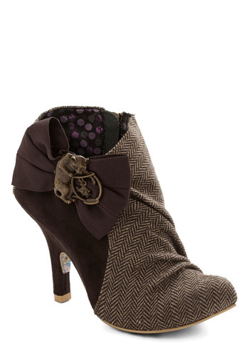 Haute in Herringbone Bootie by Irregular Choice - Brown, Multi, Herringbone, Bows, International Designer, Faux Leather, Woven, Ruching, Cats, High