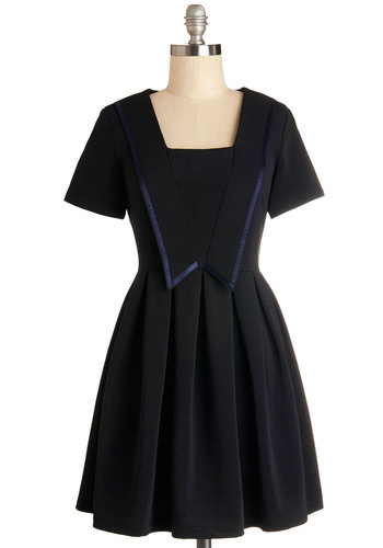 Meeting of the Mindful Dress by Kling - Black, Short Sleeves, Short, Knit, Pleats, Party, Fit & Flare, Better, Blue, Trim, Vintage Inspired