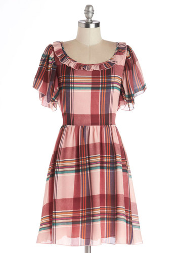 Raspberry Souffle Dress by Kling - Plaid, Mid-length, Chiffon, Woven, Pink, Red, Ruffles, Casual, A-line, Short Sleeves, Better, Scoop