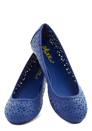 Lyrical Limerick Flat in Blue - Flat, Faux Leather, Sheer, Blue, Solid, Cutout, Daytime Party, Good, Variation