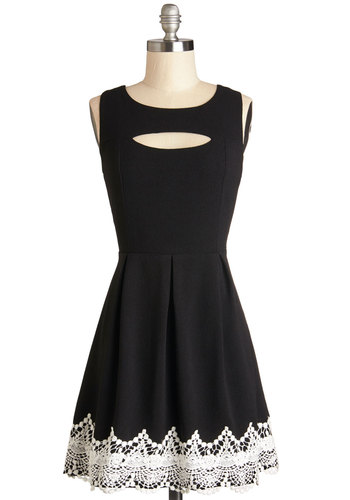 Lasting Impression Dress - Black, Bows, Pleats, Party, A-line, Sleeveless, Good, Woven, Short, Backless, Crochet, Cutout