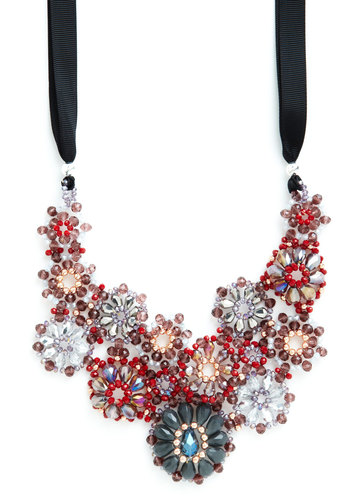 Wine and Fine Dine Crystal Necklace in Burgundy - Red, Multi, Black, Solid, Beads, Flower, Luxe, Best, Woven, Rhinestones, Statement