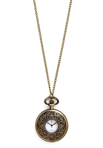 Look at the Thyme Necklace - Solid, Vintage Inspired, 20s, 30s, Gold, Pocketwatch, Better, Gold