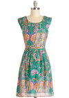 Colored With Charm Dress - Multi, Casual, A-line, Sleeveless, Good, Scoop, Woven, Mid-length, Paisley, Boho