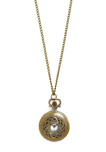 Watch and Glisten Necklace in Flora - Solid, Vintage Inspired, 20s, 30s, Gold, Better, Pocketwatch, Gold