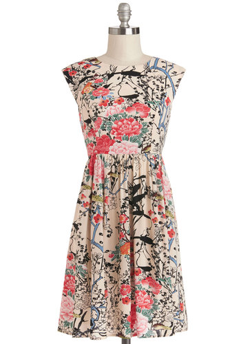 Garden Marvels Dress in Sand - Floral, Casual, A-line, Good, Mid-length, Woven, Cap Sleeves, Multi, Spring