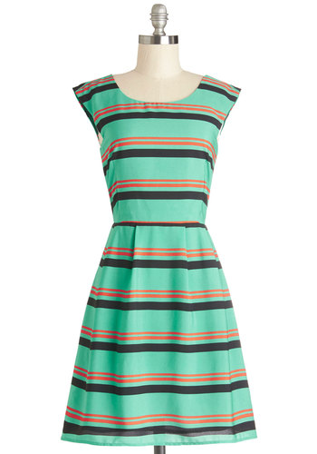 The Zeal Deal Dress - Woven, Mid-length, Green, Orange, Black, Stripes, Casual, A-line, Sleeveless, Good, Scoop