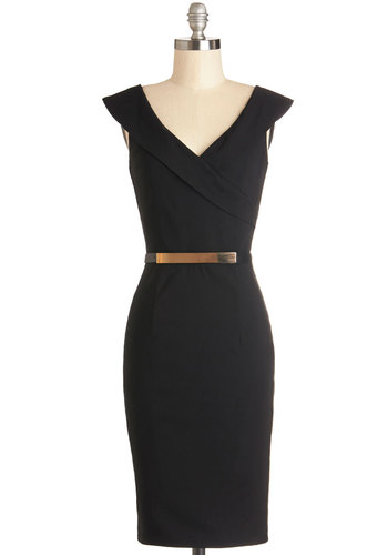 Poised Professional Dress - Mid-length, Woven, Black, Solid, Belted, Work, Shift, Sleeveless, Better, V Neck, Cocktail