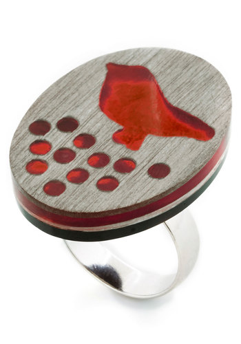 Rock Around the Flock Ring - Orange, Grey, Print with Animals, Casual, Better, Festival