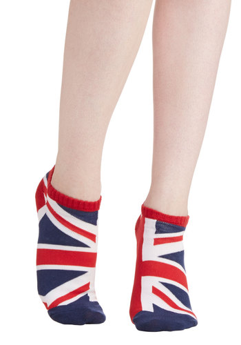 This is Brit Socks - Knit, White, Good, Red, Novelty Print, Blue