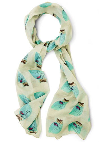 Hoot That Girl? Scarf by Disaster Designs - Cotton, Woven, White, Blue, Multi, Print with Animals, Casual, Owls, International Designer, Spring, Critters, Woodland Creature