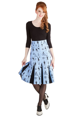 Clowning Around Skirt in Blue - Woven, Long, Blue, Novelty Print, Pleats, Party, Vintage Inspired, Quirky, A-line, High Waist, Better, Blue, Variation, Spring, Fall, Winter