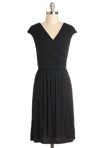 Cheers to You Dress in Black - Jersey, Knit, Black, Solid, Casual, LBD, A-line, Cap Sleeves, Good, V Neck, Minimal, Variation, Basic, Long