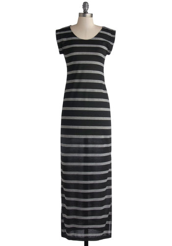 Vacation State of Mind Dress - Long, Knit, Black, White, Stripes, Casual, Maxi, Cap Sleeves, Good, Scoop