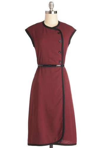 Offbeat Official Dress - Woven, Long, Red, Black, Buttons, Trim, Belted, Casual, Vintage Inspired, A-line, Cap Sleeves, Better, Crew, 40s, 50s