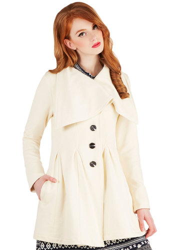 Moonlight Mimicry Coat by Knitted Dove - Cream, Solid, Buttons, Pockets, Long Sleeve, Knit, Long, 2, Vintage Inspired, Good, Collared, White, Long Sleeve, Pleats, Winter