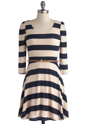 Sunday Fun Day Dress - Blue, Tan / Cream, Stripes, Belted, Casual, A-line, 3/4 Sleeve, Good, Scoop, Knit, Mid-length