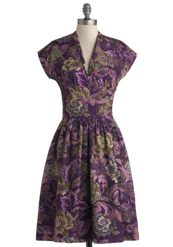 Hunting for Heirlooms Dress by Bea & Dot - Private Label, Woven, Long, Purple, Multi, Floral, Pockets, Casual, A-line, Cap Sleeves, Better, V Neck, Vintage Inspired, 50s, Exclusives