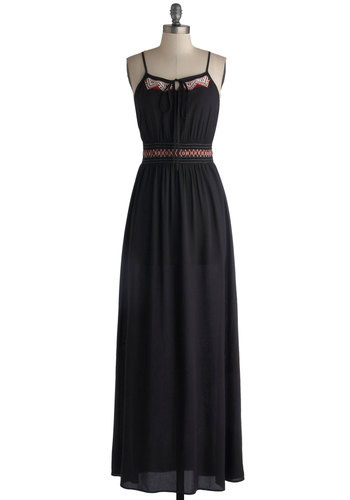 Embers Only Dress - Long, Woven, Black, Multi, Embroidery, Casual, Maxi, Spaghetti Straps, Good, Solid, Tie Neck, Festival