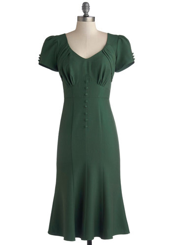 Down to a Pine Art Dress in Green by Stop Staring! - Woven, Green, Solid, Buttons, Cap Sleeves, Better, Vintage Inspired, 40s, Work, Pinup, Shift, Casual, Long