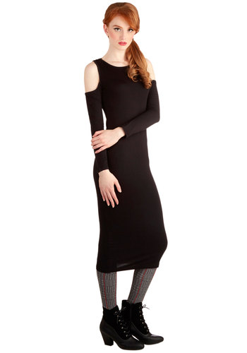 Peek Your Fancy Dress - Long, Jersey, Knit, Black, Solid, Cutout, Casual, Shift, Long Sleeve, Good, Urban, Scoop, 90s, Girls Night Out