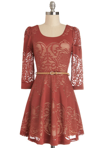 Twist is It Dress - Red, Lace, Belted, Party, 3/4 Sleeve, Good, Scoop, Sheer, Knit, Short, Tan / Cream, A-line