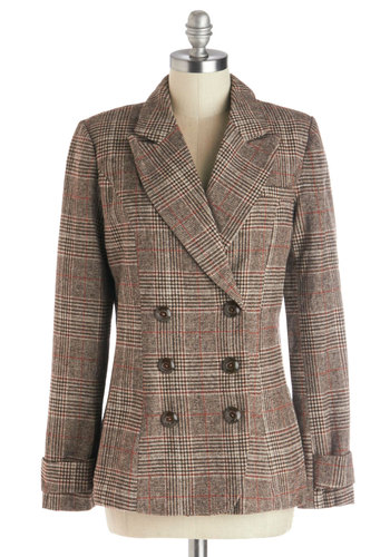 Charming Curator Blazer - Brown, Tan / Cream, Plaid, Buttons, Work, Menswear Inspired, Long Sleeve, Good, Woven, Mid-length, 1