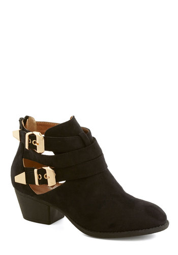 City Dwelling Bootie - Low, Faux Leather, Black, Gold, Solid, Buckles, Cutout, Urban, Good