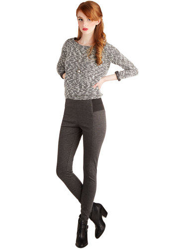 Mashup and Coming Leggings in Grey - Knit, Grey, Solid, Skinny, High Waist, Full length, Grey, Girls Night Out, Vintage Inspired, 90s, Better, Mid-Rise, Non-Denim, Fall, Winter