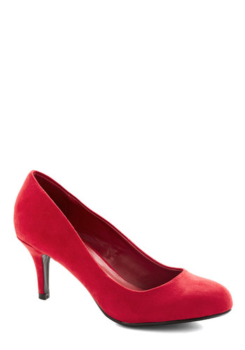 At a Moment's Notice Heel in Crimson - Mid, Faux Leather, Red, Solid, Party, Work, Holiday Party, Minimal, Good, Variation, Basic