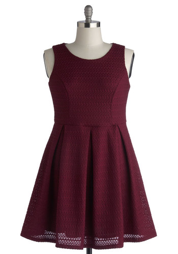 Let's Ricrac and Roll Dress - Red, Solid, Pleats, Work, Casual, Minimal, A-line, Sleeveless, Better, Scoop, Knit, Mid-length