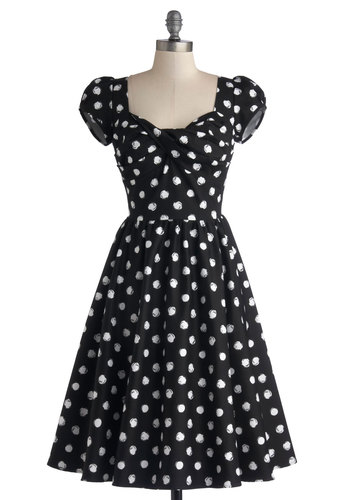 Fun of Those Days Dress by Stop Staring! - Woven, Long, Black, White, Polka Dots, Party, Fit & Flare, Cap Sleeves, Better, Vintage Inspired, 50s, Sweetheart