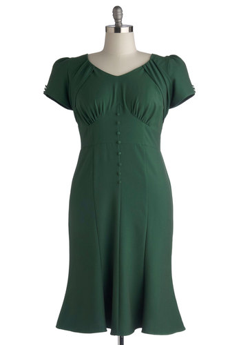 Down to a Pine Art Dress in Plus Size by Stop Staring! - Long, Woven, Green, Solid, Buttons, Casual, Vintage Inspired, Sheath / Shift, Short Sleeves, Better, 40s