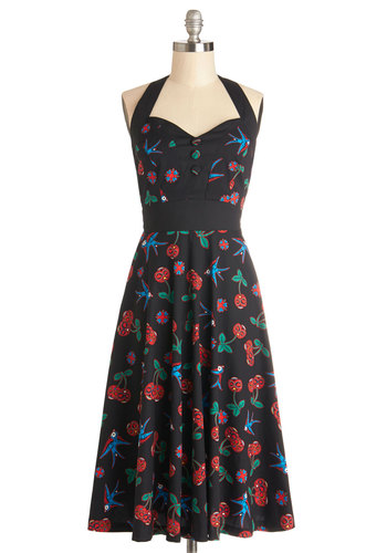Frock 'n' Roll Dress in Sparrows - Woven, Multi, Casual, Better, Red, Black, Print with Animals, Novelty Print, Buttons, Rockabilly, Vintage Inspired, 50s, A-line, Halter, Variation, Sweetheart, Bird, Woodland Creature, Mid-length