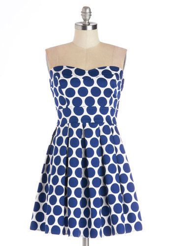 Bubbly Double Take Dress - Blue, White, Polka Dots, Pleats, Daytime Party, A-line, Strapless, Good, Sweetheart, Woven, Mid-length