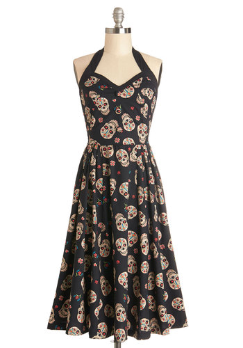 Frock 'n' Roll Dress in Skulls - Woven, Long, Novelty Print, Party, Skulls, A-line, Halter, Better, Sweetheart, Buttons, Rockabilly, Vintage Inspired, 50s, Variation, Multi, Tan / Cream, Black
