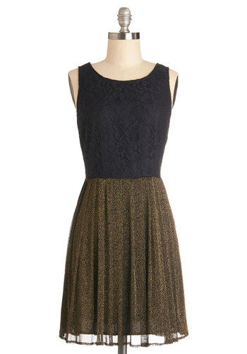 Candlelit Celebration Dress by Jack by BB Dakota - Mid-length, Black, Gold, Cutout, Lace, Party, A-line, Sleeveless, Good, Scoop, Holiday Party, Lace
