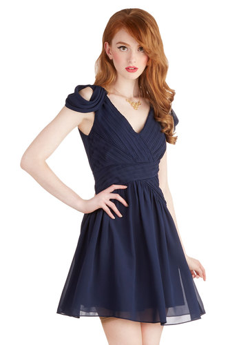 Taking Fancy Dress in Navy - Chiffon, Woven, Short, Blue, Solid, Cutout, Pleats, Wedding, Party, A-line, Cap Sleeves, V Neck, Bridesmaid, Prom