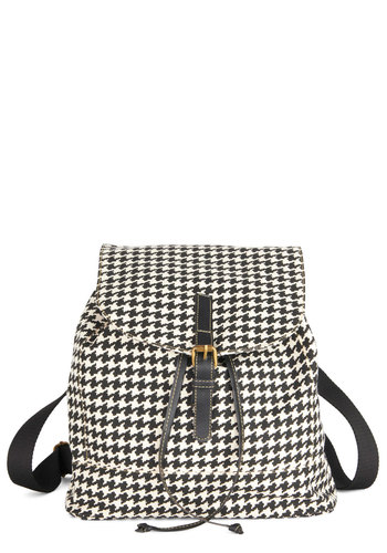 I've Got My Hobbies Backpack - Black, White, Houndstooth, Scholastic/Collegiate, Better, Variation, Faux Leather, Woven, Vintage Inspired, 90s, Gifts Sale
