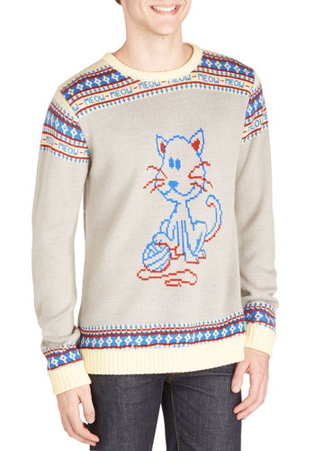 Language of Cats Men's Sweater - Knit, Mid-length, Grey, Print with Animals, Novelty Print, Casual, Cats, Long Sleeve, Better, Crew, Grey, Long Sleeve, Red, Blue, Quirky