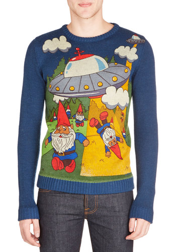 Gnome Away From Home Men's Sweater - Knit, Mid-length, Multi, Novelty Print, Quirky, Long Sleeve, Better, Crew, Multi, Long Sleeve, Blue, Casual
