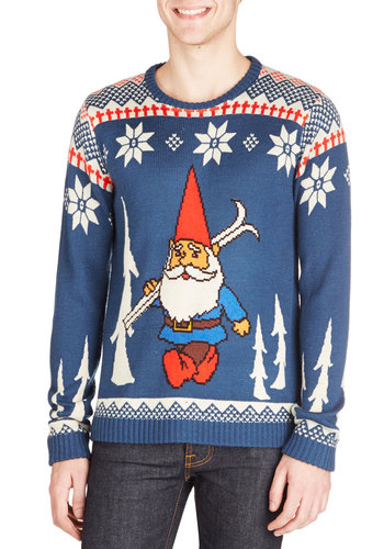 Assert Your Elf Men's Sweater - Knit, Mid-length, Blue, Novelty Print, Holiday, Vintage Inspired, Quirky, Long Sleeve, Better, Crew, Blue, Long Sleeve