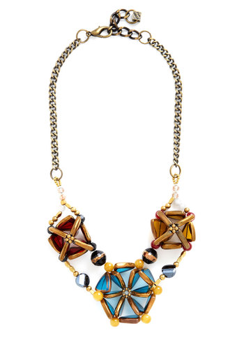 Becoming Bold Necklace by Pam Hiran - Blue, Solid, Beads, Statement, Gold, Better, Multi, Yellow, Work, Special Occasion, Spring