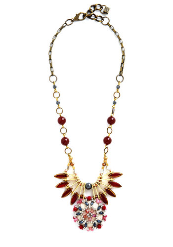 Testament to Timeless Necklace by Pam Hiran - Red, Multi, Beads, Flower, Rhinestones, Special Occasion, Cocktail, Holiday Party, Luxe, Gold, Better, Solid